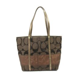 COACH Coach Tote Bag 11098 Brown Canvas X Leather [Used] [Rank B] ​​Ladies
