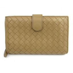 BOTTEGA VENETA Bottega Veneta Round Wallet Beige Leather [Used] [Rank A] Ladies
