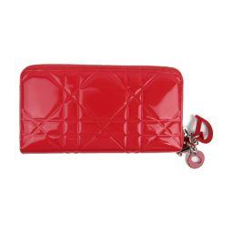 Dior クリスチャン・ディオール エナメル ラウンド長財布 レッド エナメル 【中古】【ランクA】 レディース