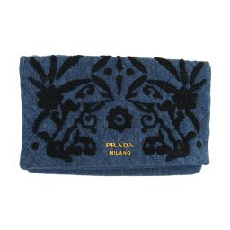 PRADA Prada denim clutch bag 1MS003 blue x black denim [pre-owned] [rank A] lady