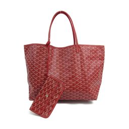 GOYARD Gojar Saint Louis GM Tote Bag Red Coated Canvas x Leather 【Like New】 Lady
