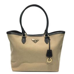 PRADA Prada Tote Bag Beige x Black Canvas x Leather [Used] [Rank A] Ladies