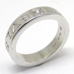 BVLGARI ブルガリ ダブルロゴ リング 1Pダイヤモンド 指輪 クリアー K18WG(750) ホワイトゴー
