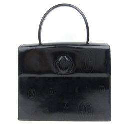 Cartier カルティエ ハッピーバースデー ハンドバッグ ブラック エナメル 【中古】【ランクB】 レディース
