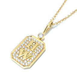 HARRY WINSTON Harry Winston HW Logo Diamond Necklace Clear x Gold K18