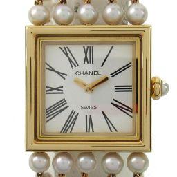 CHANEL シャネル マドモアゼル パールブレス ウォッチ 腕時計 H0007 ホワイト K18YG(750)イ