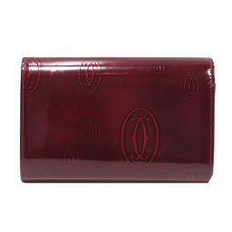 Cartier カルティエ ハッピーバースデー L型ZIP財布 ボルドー エナメル 【中古】【ランクB】 レディー