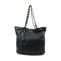 FURLA full la chain tote bag black leather [used] [rank A] ladies