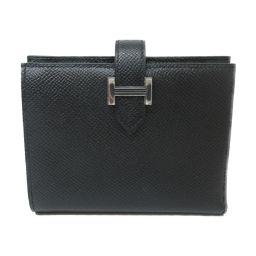 HERMES エルメス ベアンコンパクト 二つ折財布 ブラック(シルバー金具) ヴォーエプソン C刻印 【新品同様
