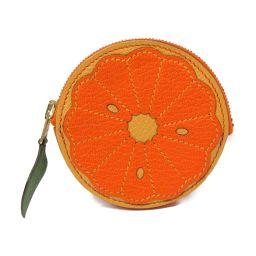 HERMES エルメス フルーツ・コインケース・ソルド品 オレンジ x グリーン(ゴールド金具) シェーブル □L