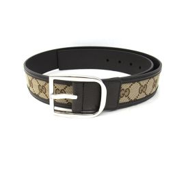 GUCCI Gucci GG Canvas Belt 449716 Dark Brown x Beige GG Canvas x Leather [Used