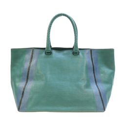 BOTTEGA VENETA tote bag 260776 green blue black cowhide (