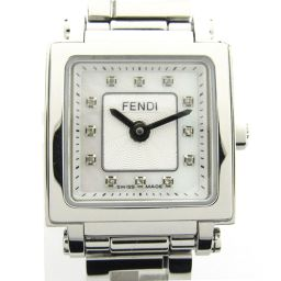FENDI Fendi Quadro 12P diamond watch watch F605034000D1 silver stainless steel