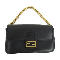 FENDI Fendi chain 2way shoulder bag handbag black leather [used] [rank A]
