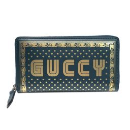 GUCCI Gucci Round Zipper Wallet 524338 Green x Gold Leather [Like new] Men / Red