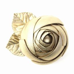 CHANEL Chanel Camellia Brooch Corsage Gold Leather [Used] [Rank A] Ladies