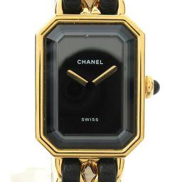 CHANEL シャネル プルミエールL ウォッチ 腕時計 ゴールド レザーベルト xGP(ゴールドメッキ) 【中古