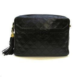 CHANEL Chanel Matrasse chain shoulder bag with tassel fringe black (metal fittings: gold)