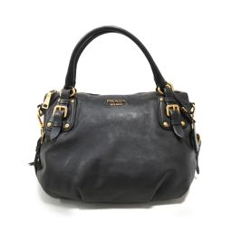 PRADA Prada 2way Handbag Black Leather [Used] [Rank B] ​​Ladies