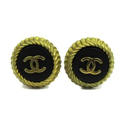 CHANEL Chanel Coco Mark Earring 95 C Black x Gold Plating [Used] [Rank A] Lady