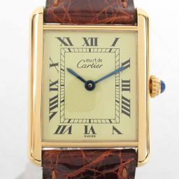 Cartier Cartier mast tank Vermeil watch watch 590005 brown SV x leather