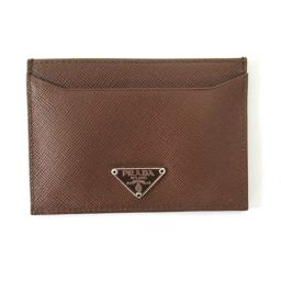 PRADA Prada Saffiano Card Case Brown Saffiano Leather [Used] [Rank A] Men / Lady