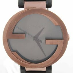 GUCCI Gucci watch watch watch 133.2 black stainless steel (SS) x leather belt