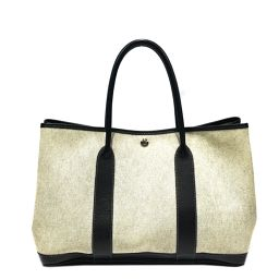 HERMES Hermes Garden Party PM Tote Bag Gray x Black (Hardware: Silver) Leather x