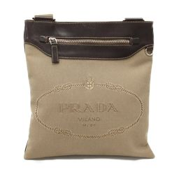 PRADA Prada shoulder bag VA0646 beige x brown canvas x leather [used] [rank B