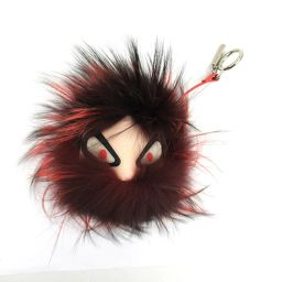 FENDI Fendi Monster Pompon Charm Red x Beige x Black Leather x Fur [