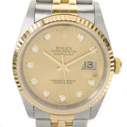 ROLEX ロレックス デイトジャスト 10Pダイヤ ウォッチ 腕時計 16233G Y番 シルバー K18YG(