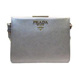 PRADA プラダ ショルダーバッグ 1BC046 シルバー レザー 【中古】【ランクA】 レディース
