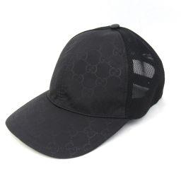 GUCCI グッチ GGナイロン キャップ 帽子 510950 ブラック ナイロン  x コットン 【新品同様】