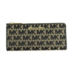 MICHAEL KORS Michael Kors logo L-type ZIP long wallet 35F9GTVZ3J black x beige key