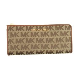 MICHAEL KORS Michael Kors logo L-type ZIP long wallet 35F9GTVZ3J Brown x Beige