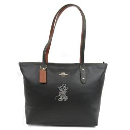 COACH coach tote bag F38621 black leather [like new] ladies