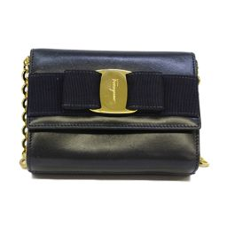 Salvatore Ferragamo Mini Chain Shoulder Bag Navy Cow
