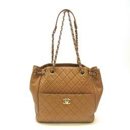 CHANEL Chanel W Flap Matrasse Chain Shoulder Bag Light Brown (Metal: Gold) Rams
