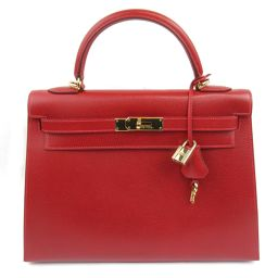 HERMES Hermes outer stitching Kelly 32 handbag rouge ash (metal fittings: gold) Kushbell □ G stamp