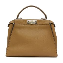 FENDI Fendi 2way peekaboo shoulder bag handbag brown leather [used] [rank A