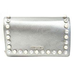miu miu Miu Miu Rhinestone Shoulder Bag 5BP001 Silver Leather x Rhinestone