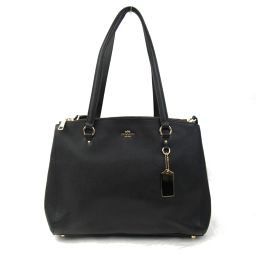 COACH coach leather 2way shoulder bag 37148 black embossed leather [Used] [Rank B]