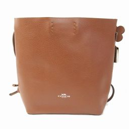 COACH Coach Pebble Leather Derby Crossbody Shoulder Bag F58661 Brown Leather [Used]
