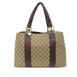 GUCCI Gucci GG Canvas Tote Bag 232947 Brown x Dark Brown Canvas Leather