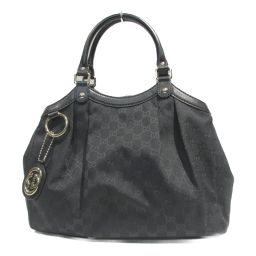 GUCCI Gucci Tote Bag 211944 Black GG Canvas Leather [Used] [Rank A] Lady