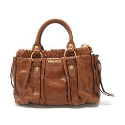 miu miu Miu Miu 2way Handbag Brown Leather [Used] [Rank B] Ladies