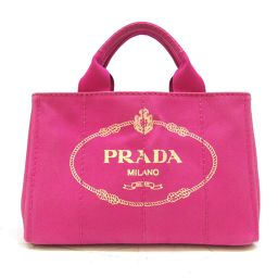 PRADA Prada Mini Kanapato Tote Bag BN2439 Pink FUXIA Canvas CANAPA [Used]