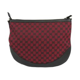 GUCCI Gucci GG canvas shoulder bag 272380 red x black canvas x leather [