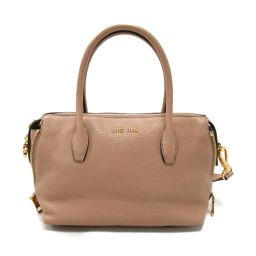 miu miu Miu Miu 2way Handbag 5BB020 Pink Beige Leather [Used] [Rank B]