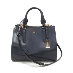 COACH Coach Tote Bag 33545 Navy Leather [Used] [Rank A] Ladies